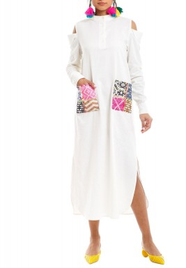 White Embroidered Cold Shoulders Kaftan