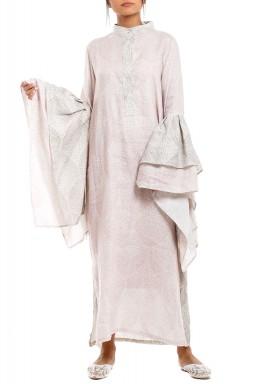 Lavender Oversized Ruffled Sleeves Kaftan