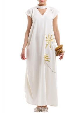 White Linen Embroidered Dress