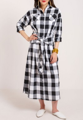 Collar Checkered Kaftan