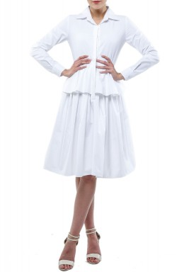 White Peplum Ruffled Dress