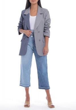 Half Grey Half Blue Striped Blazer