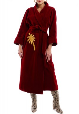 Velvet robe bisht red