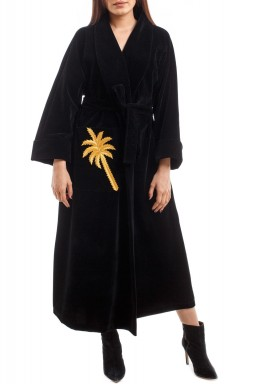 Velvet Robe Bisht Black