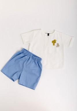Kids White Blouse & Blue Shorts Set