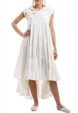 White Tiered Embroidered Dress