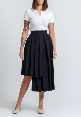 Black Pleated Asymmetric Skirt