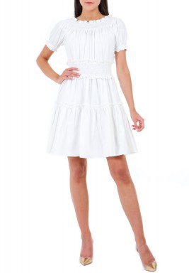 White Ruffled Short Dress