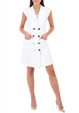 White Fitted Sleeveless Blazer Dress