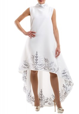 White Embroidered High-Low Dress