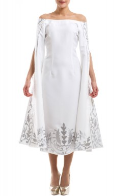 White Embroidered Open Sleeves Dress