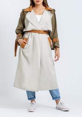 Trio Color Belted Midi Trench Coat
