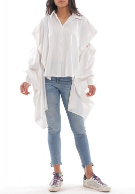 White Oversized Adjustable Sleeves Shirt