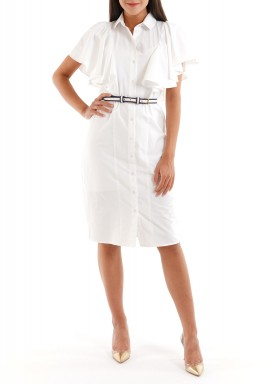 White Ruffled Midi Dress