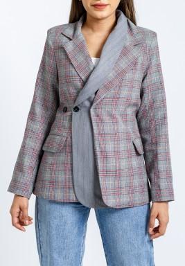 Grey Checked Double Collar Blazer