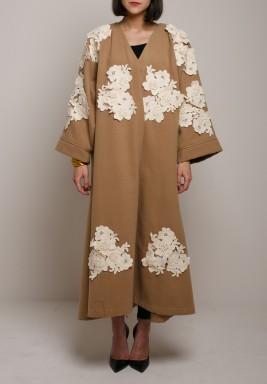 Camel Floral Maxi Bisht