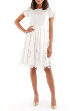 White Embellished Short Sleeves Dress