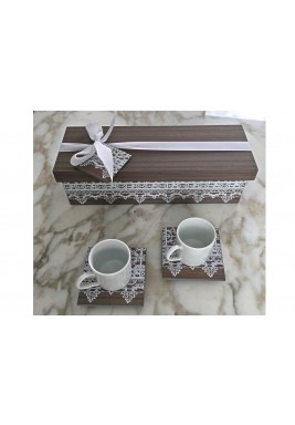 Turkish Coffee Set of 2 white print