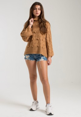 RUST POMPOM CHUNKY SWEATER