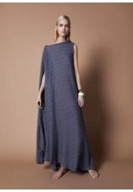 Navy Blue Pleated Asymmetrical Dress