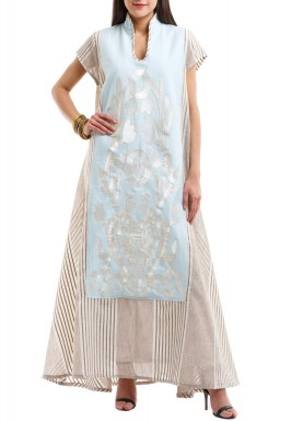 The Light Blue Embroidery Kaftan