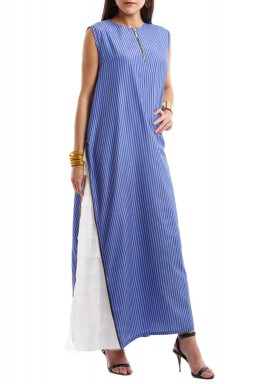 Blue Striped Zip Side Dress