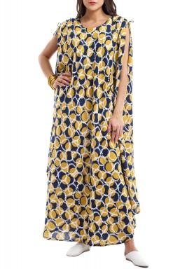 The Bajja Blue & Yellow Sleeveless Printed Kaftan