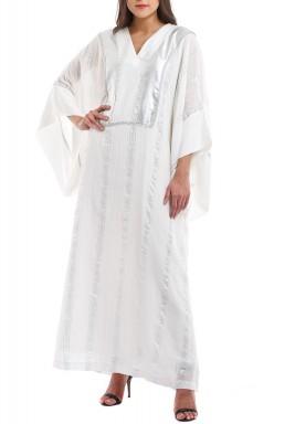 White & Silver Striped kaftan