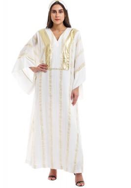 White & Gold Striped Kaftan