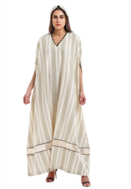 Beige & Olive Striped Kaftan