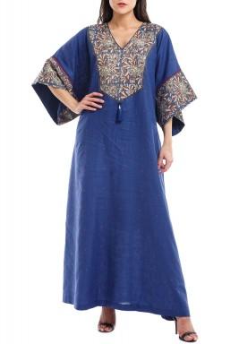 Blue Ajlal Floral Print Linen Kaftan