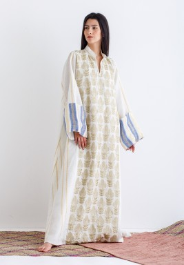 Off-White with Gold Embroidery Kaftan