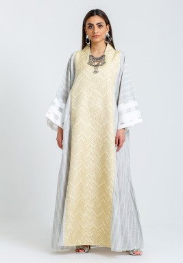Gold & Grey Printed Kaftan