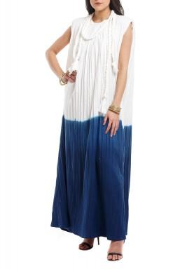 White & Blue Tie Dye Pleated Kaftan