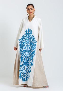 Beige & Blue Embroidery Kaftan