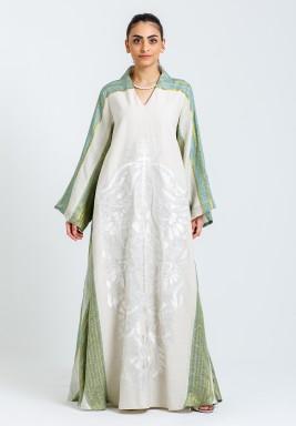 Beige & Green Printed Kaftan