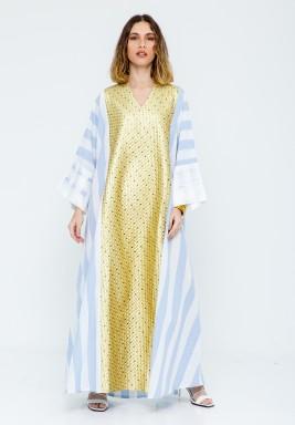Blue & Gold Striped Kaftan