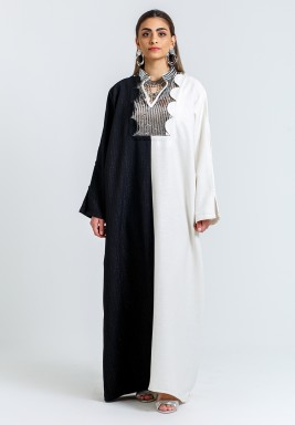 Black & White Sequined Net Kaftan