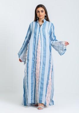 Blue & White Striped Feathery Kaftan
