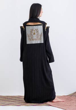 Black Zipper Embroidered Kaftan