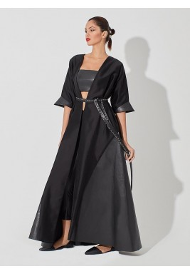 Silk and leather  abaya