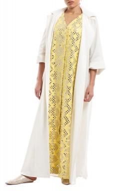 Clara Yellow & White sequined kaftan