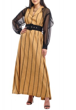 Camel & Black Mesh Sleeves Kaftan