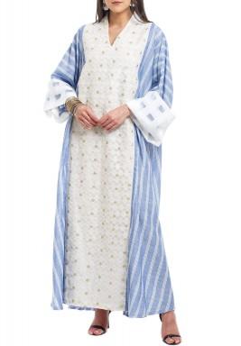 Off-White & Blue Striped Kaftan