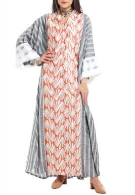 Orange & Grey Embroidered Striped Kaftan