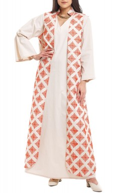 Off-White & Orange Vest Look Kaftan