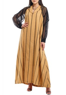 Camel & Black Mesh Sleeves Kaftan