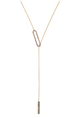 Clip Necklace-Brown Diamond