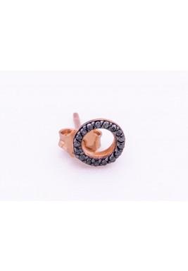 Tiny Circle Earrings -Black Diamond