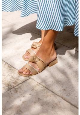 Safa Beige Strappy Block Heel Sandals